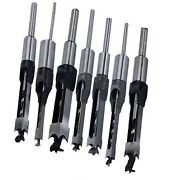 7pcs Woodworking Square Hole Mortise Chisel Drill Bits With 3/4 Shank Wood Cut
