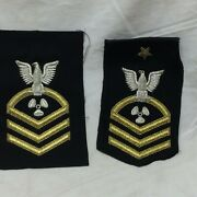 Vtg Military Patch Lot 2 Navy Machinists Mate Cpo Chief Petty Officer Bullion