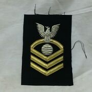 Vintage Military Patch Navy Machinery Repairman Cpo Chief Petty Officer Bullion