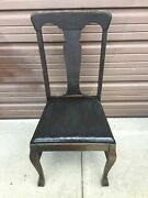 6 Wooden Oak Dining Chairs Antique Vintage