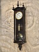 30 Days Vintage Antique Germany Vienna Wall Clock,1 Weight,w Faux Finish Case