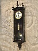 30 Days Vintage Antique Germany Vienna Wall Clock1 Weightw Faux Finish Case