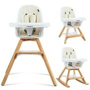 Baby High Chair W/ Tray 3-in-1 Convertible Wooden Legs