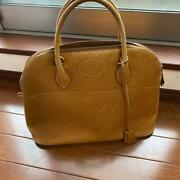 Hermes Bolide 37 Hand Bag Couchevel Leather Natural Used