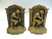 Antique Pair Metal Iron The Thinker Rodin Statue Decorative Bookends Book Ends