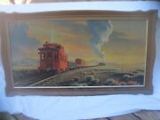 The Red Caboose Paul Detlefsen Print Framed Vintage Union Pacific Train Painting
