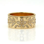 Icon Blossom White Enamel Wide Band 18k Yellow Gold Ring