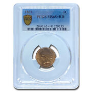 1867 Indian Head Cent Ms-65 Pcgs Red - Sku231484