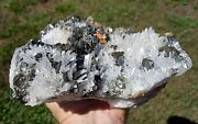 Huaron Peru Clear Quartz Crystal Points With Galena And Pyrite And Red Realgar