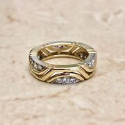 Vintage Two Tone Gold Diamond Band Ring By Carvin French - 18 Karat Gold