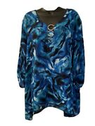Sami And Jo Womens Plus Size 3x Blue White Tie Dyed Top 3/4 Sleeve Tunic Blouse B5