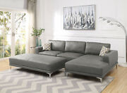 Living Room Furniture Sectional Sofa Antique Grey Leather Gel Sofa Chaise 2p Set