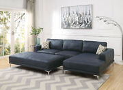 Living Room Furniture Sectional Sofa Navy Blue Leather Gel Sofa Chaise 2p Set