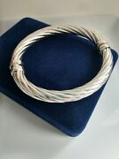 Oval Sterling Bangle Bracelet 925 Italy Rope Hindge Statement Jewelry 7