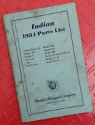 1934 Indian Motorcycle Factory Manual Book Parts Catalog Chief Scout Four 4