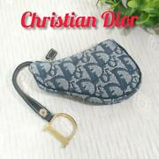 Christian Dior Auth Trotter Saddle Coin Purse Pouch Navy X Gold Used From Japan