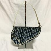 Christian Dior Authentic Trotter Pvc Saddle Bag Pouch Navy Used From Japan