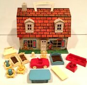 Vintage Disney Carry-all Tin Doll House Mickey And Friends By Marx Toys Complete