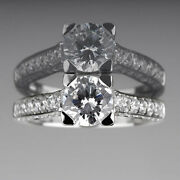 Round Diamond Ring 4 Prongs Si2 Anniversary 18k White Gold 1.88 Ct Accents