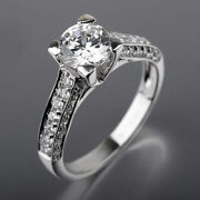Round Sparkling Diamond Ring Anniversary Colorless Real 18k White Gold 1.91 Ct