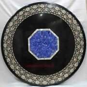 4and039x4and039 Black Marble Table Top Pietra Dura Inlay Handmade Craft Home Decor