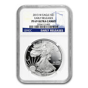 2013-w Proof Silver American Eagle Pf-69 Ngc Early Releases - Sku 73858