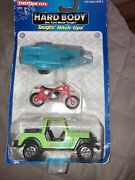 Tootsie Toy Toughs Hitch Ups Hard Body 1992 Jeep Motorcycle And Trailor