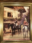Detaille Mounted Empire Dragoons Country House Artist Painting Oil Canvas Repro