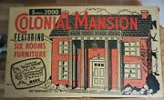 Vtg Marx Tin Dollhouse Colonial Mansion 4048 With Furniture Box 1959