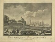 Print Antique Original View Dand039 Other Part Di Livorno And Tip Of Pier - Italy