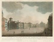 Print Antique Original Vue Of The Large Place Of Livourne In Italy - Livorno