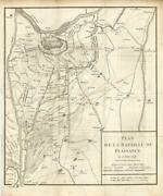 Print Antique Plan Of The Bataille Plaisance 15 Juin 1746 - Piacenza Italy