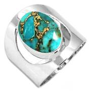 Copper Blue Turquoise Women Jewelry 925 Sterling Silver Ring Size 6 Bt96956