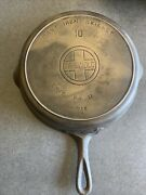 Griswold Cast Iron Skillet 10, Large Block Logo, 716a Handle Has Been Repaired