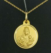 Pendant And Chain Gold 18k. Medal Escapulario With Pull 0 25/32in