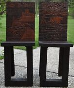 Two Hand Carved Wood Chairs Cyrillic Inscribed Lord's Prayer Our Father Mt Athos