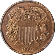 1869 Two 2 Cent Piece Proof Pcgs Pr65 Rb Superb Eye Appeal Strong Strike