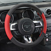 Red Black Two Tone Faux Leather Steering Wheel Cover For Car Suv Truck 15