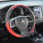 Red Black Faux Leather Steering Wheel Cover Universal Fit Car Truck Van Suv Auto