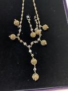 Hsn Suzanne Somers Set Of 2 Round Czs Ball Drop Goldtone Earrings Necklace New