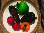 Lot Of 6 Beautiful Murano Style Art Glass Large Fruit And Vegetables + Fruit Bowl
