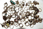 Lot Of 16 Oz Sterling Silver Rings 92.5 Fine 88 Rings Various Sizes 5 To 7