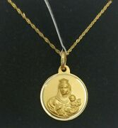 Pendant And Chain Gold 18k. Medal Escapulario With Pull 0 23/32in