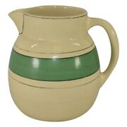 Roseville Pottery Creamware Utility Green Banded Pitcher