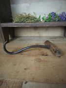 Antique Meat Hook Butcher Tool Hay Bale Hook Farmhouse Hand Forged Wood Handle