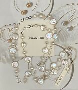 Nwt 215 Chan Luu White Freshwater Pearl And Sterling Silver Necklace Gorgeous