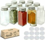 Usa Glass Spice Jars Bottles Square Clear Airtight Salt Herbs Container With Lid