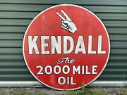 """42"""" Kendall Oil Sign / Hand Painted Wooden Contemporary Folk Art Advertising"""