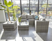 Garden Outdoor Furniture Grey Rattan 6 Seat Sofa Set With Table And Rain Cover