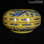 Chinese Antique Ming Xuande Yellow Glaze Blue And White Dragon Pattern Fruit Box